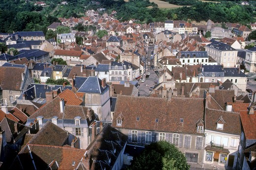 France, Burgundy, Nievre (58), Clamecy, overview of the old city : Stock Photo