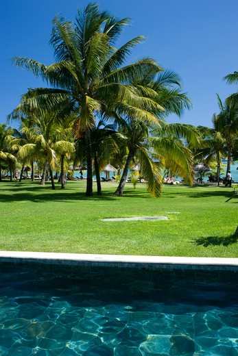 Stock Photo: 1606-108527 Mauritius, Le Morne, hotel pool and garden