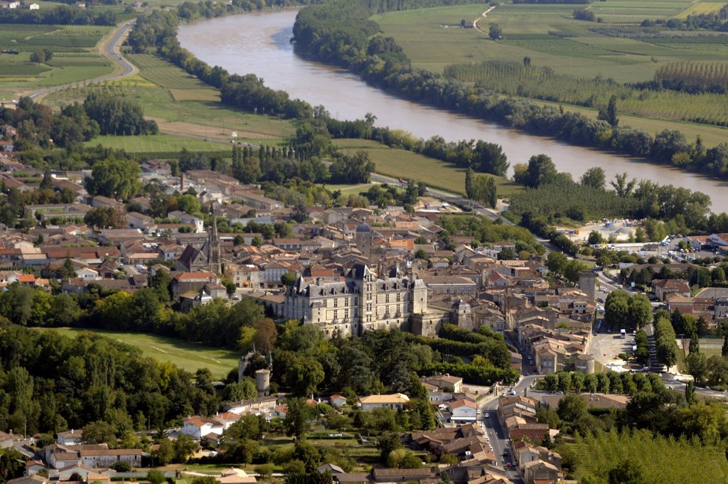 France, Aquitaine, Gironde, Cadillac, aerial view : Stock Photo