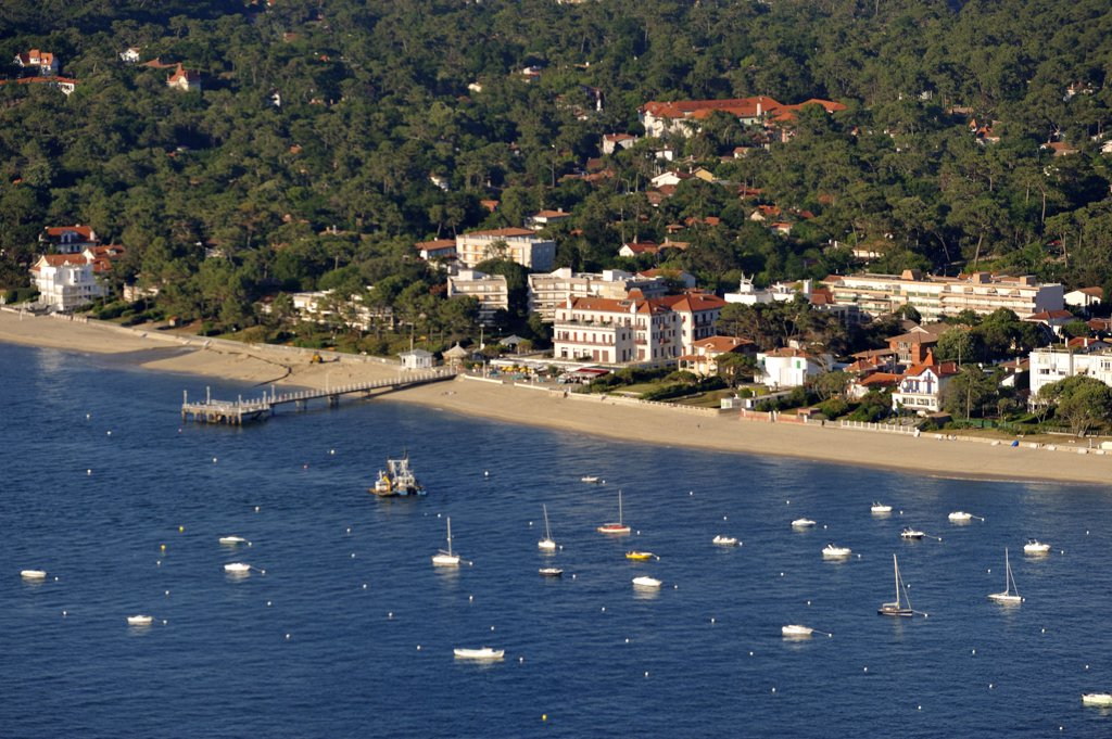 France, Aquitaine, Gironde, Bassin d'Arcachon, Arcachon, aerial view : Stock Photo