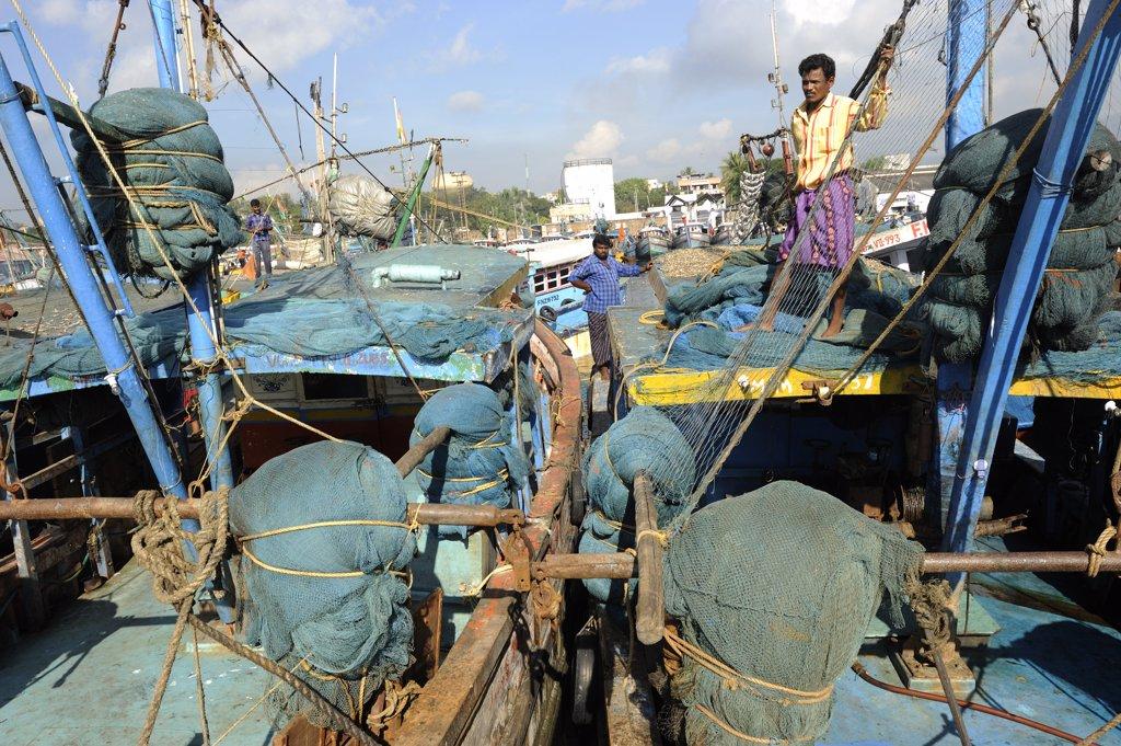 Stock Photo: 1606-109310 India, Andhra Pradesh, Visakhapatnam, fishing boats