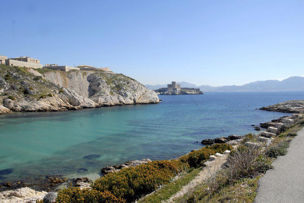 France, Provence, Marseille, Frioul archipelago, Ch?teau d'If : Stock Photo