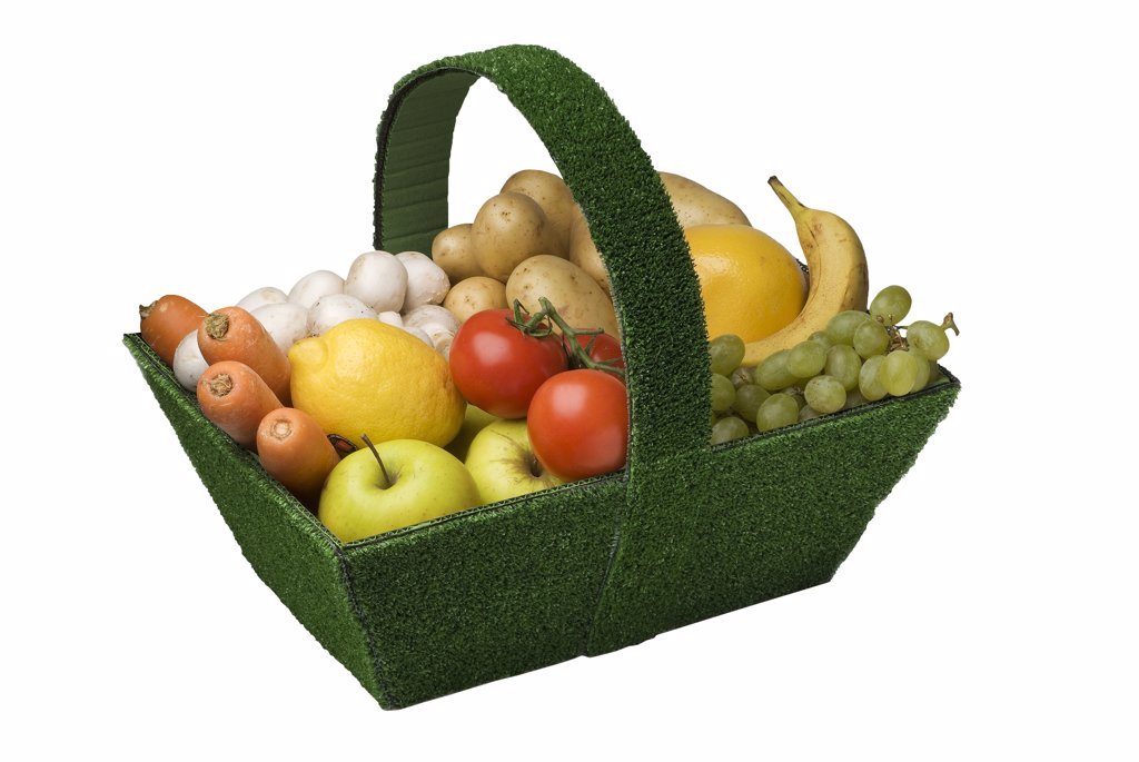 Stock Photo: 1606-110202 Basket of fruits and vegetables