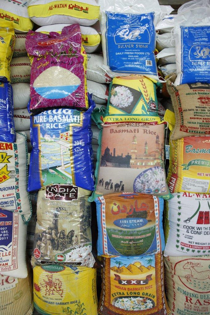 Stock Photo: 1606-111164 United Arab Emirates, Dubai, Dubai, Rice wholesaler
