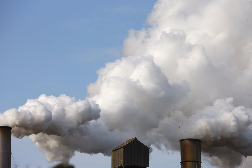 France, Somme, Roye, Factory chimney smoke : Stock Photo