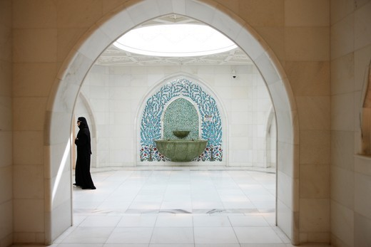 United Arab Emirates, Abu Dhabi, Abu Dhabi, Sheikh Zayed Grand Mosque. Ablution area : Stock Photo