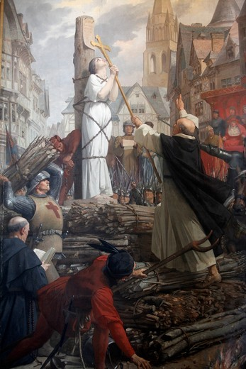 Stock Photo: 1606-111825 France, Paris, Painting in Le Panth?on : Joan of Ark on the pyre by Jules-Eug?ne Leneuveu
