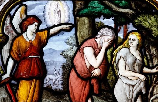 France, Eure-et-Loir, Chartres, Saint Aignan Church. Adam and Eve. : Stock Photo
