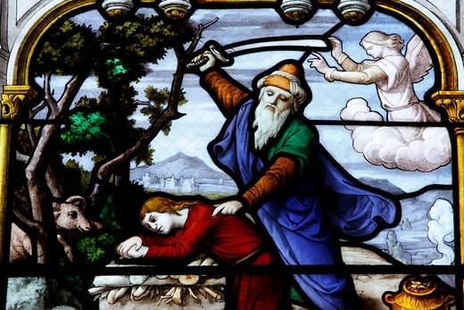 France, Eure-et-Loir, Chartres, Saint Aignan Church. Abraham Sacrificing Isaac : Stock Photo