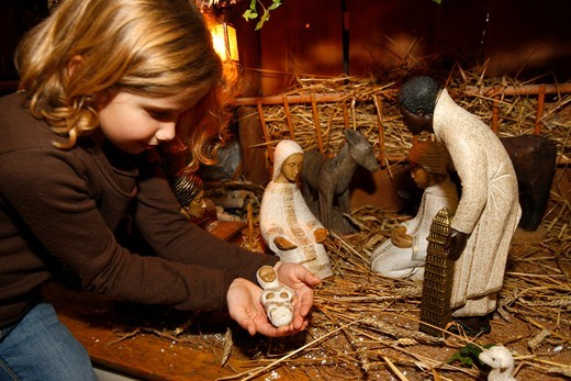 Stock Photo: 1606-111920 France, Haute-Savoie, Saint-Gervais, Nativity scene