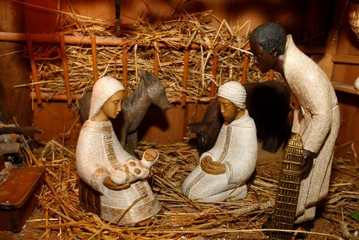 France, Haute-Savoie, Saint-Gervais, Nativity scene : Stock Photo