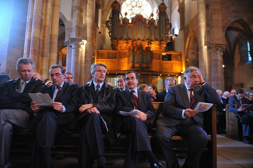 France, Bas-Rhin, Strasbourg, Protestant festival in Strasbourg, France Politicians attending the welcome celebration : Stock Photo