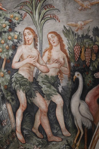 Stock Photo: 1606-112187 Italie, Lecce, Maglie, Fresco in Maglie church : Adam & Eve leaving heaven