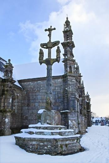 France, Brittany, Finist?re, Monts d'Arr?e, Commana, St Derrien church : Stock Photo