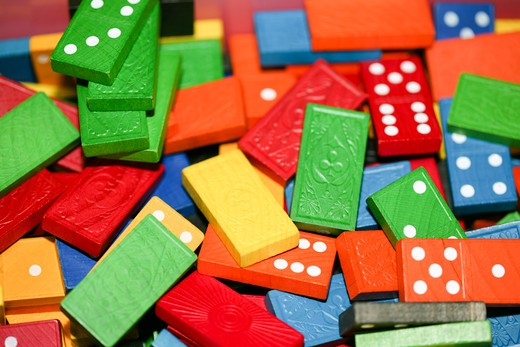Stock Photo: 1606-112535 Close-up of colored dominos