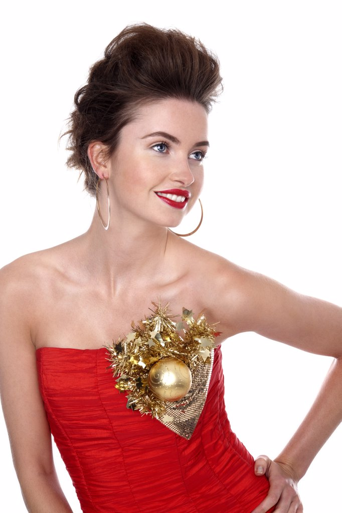 Young woman in red dress : Stock Photo