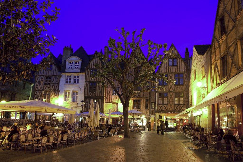 France, Centre, Indre et Loire, Tours, Plumereau square : Stock Photo