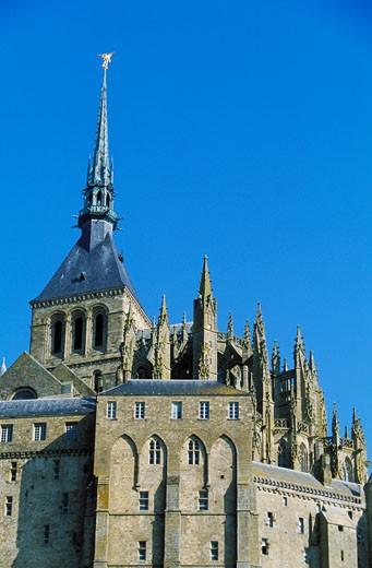 France, Normandy, Mont Saint-Michel, abbey church : Stock Photo
