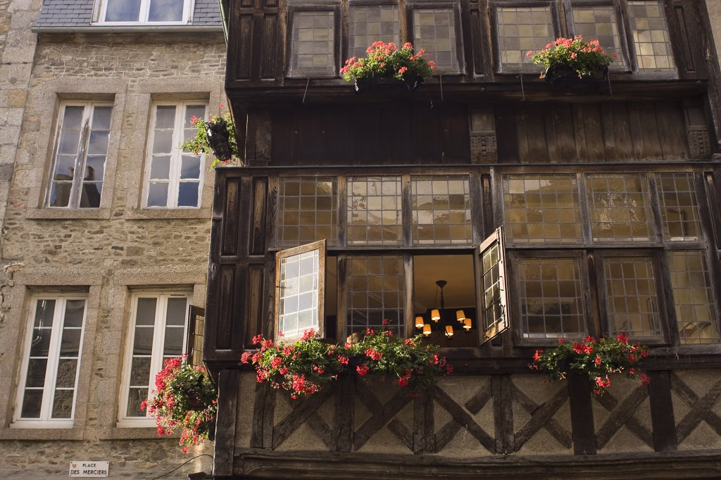 France, Brittany, Dinan, half-timbered house : Stock Photo