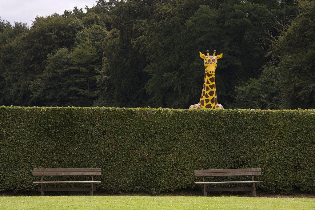 France, Brittany, Pleugueneuc zoo, inflatable girafe : Stock Photo