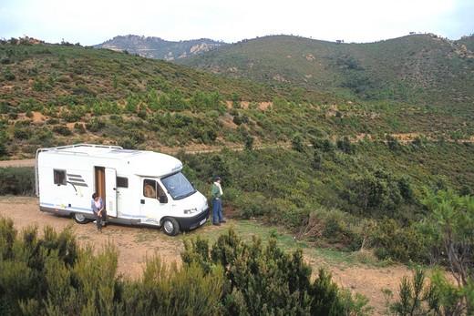 Stock Photo: 1606-116290 France,  Provence Alpes-Cote-d'azur, Var (83), Saint Raphael, Esterel mountain, camping car