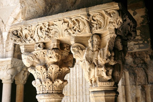 France, Provence Alpes Cote D'Azur, Bouches du Rh?ne (13), Arles, Saint Trophime church, the cloister (Unesco world Heritage) : Stock Photo