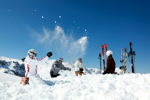 France, Alps, Savoie, Courchevel, family winter vacation : Stock Photo