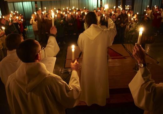 France, Paris, Easter vigil : Stock Photo