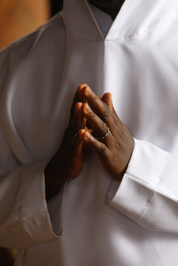 Togo, Danyi Dzogb?gan, Monk in Dzogbegan benedictine abbey : Stock Photo