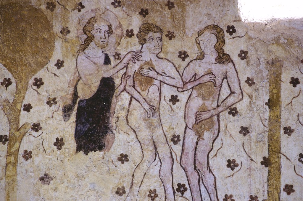 France, Burgundy, Yonne (89), Moutiers en Puisaye, saint Pierre church, medieval paint, adam and Eve : Stock Photo