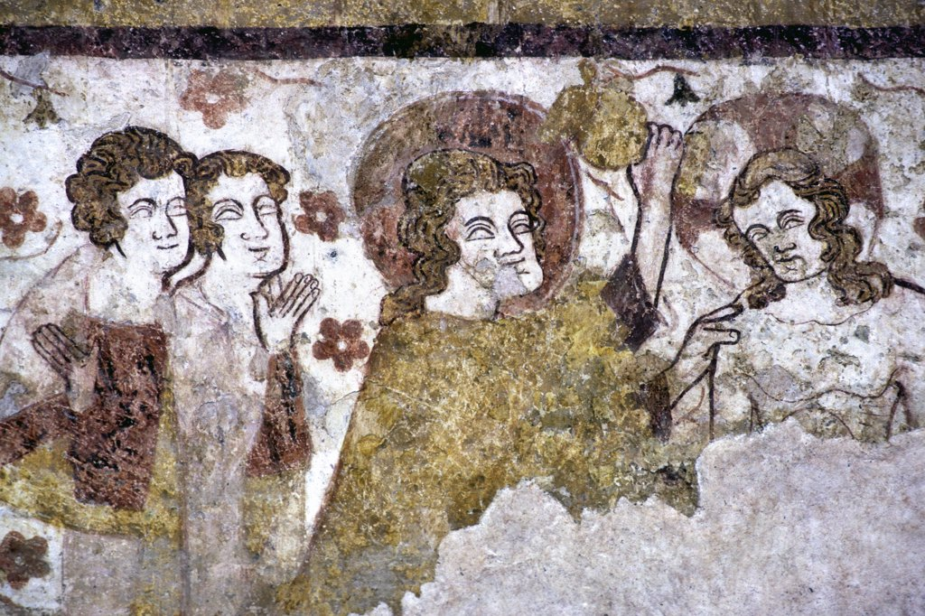 France, Burgundy, Yonne (89), Mouiters en Puisaye, Saint Pierre church, medieval paint : Stock Photo
