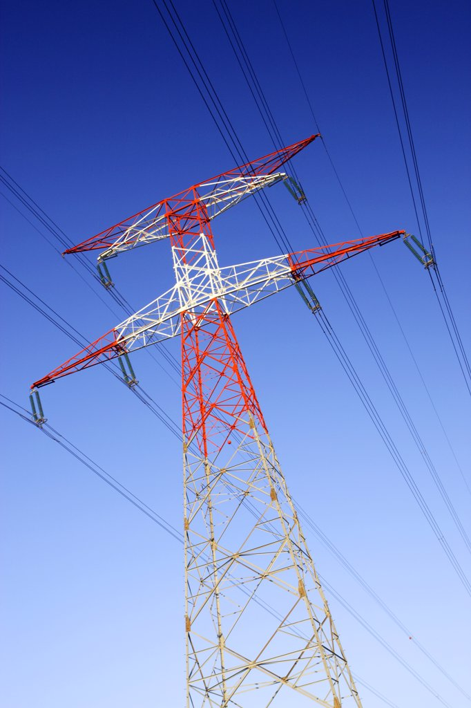 France, high voltage power lines : Stock Photo
