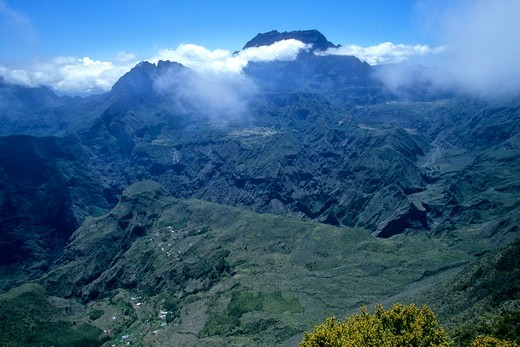 Stock Photo: 1606-120782 Africa, Indian ocean,  France, Reunion island, Mafate corrie, view from Piton Maido