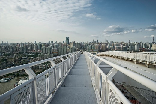 Stock Photo: 1606-121158 China, Shanghai, Lupu bridge and Huangpu river