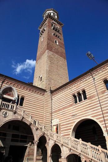 Italy, Verona, Torre dei Lamberti Tower : Stock Photo