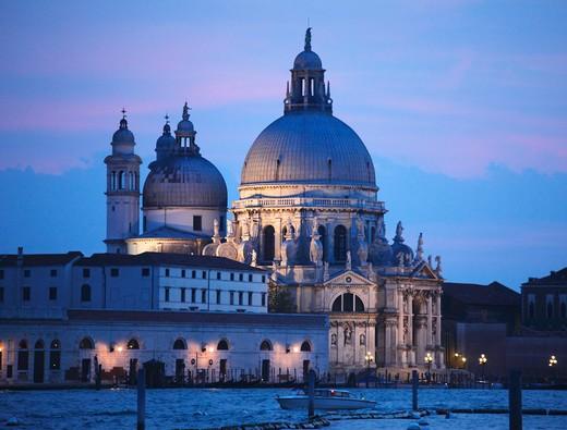 Italy, Venice, Santa Maria della Salute Church, Grand Canal : Stock Photo