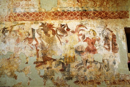 France, Midi-Pyr?n?es, Lot, near Puy L'Ev?que, St Pierre de Martignac church, fresco : Stock Photo