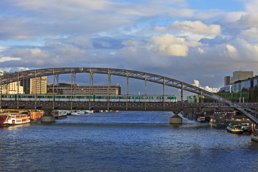 France, Paris, The Seine, Austerlitz bridge, aerial subway : Stock Photo