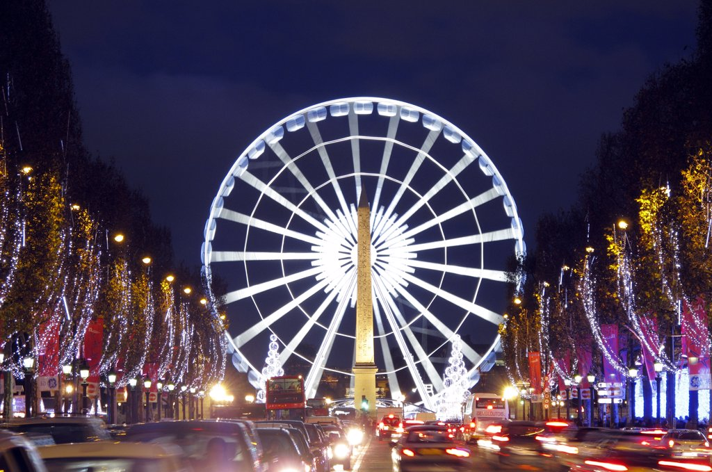 France, Paris, Champs Elys?es, Concorde square, ferris wheel : Stock Photo