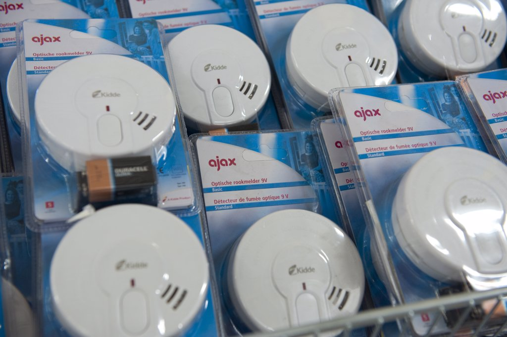 Stock Photo: 1606-124807 Smoke detectors in a DIY store