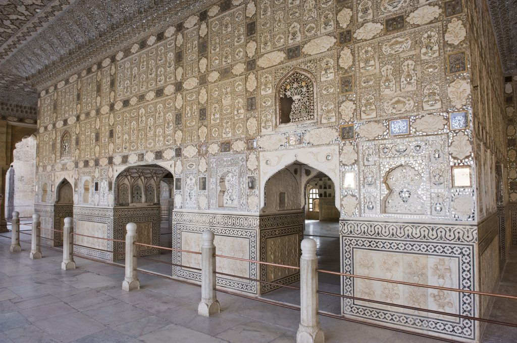 India, Rajasthan, Amber fortress, palace, Jai Mandir (hall of victory) : Stock Photo