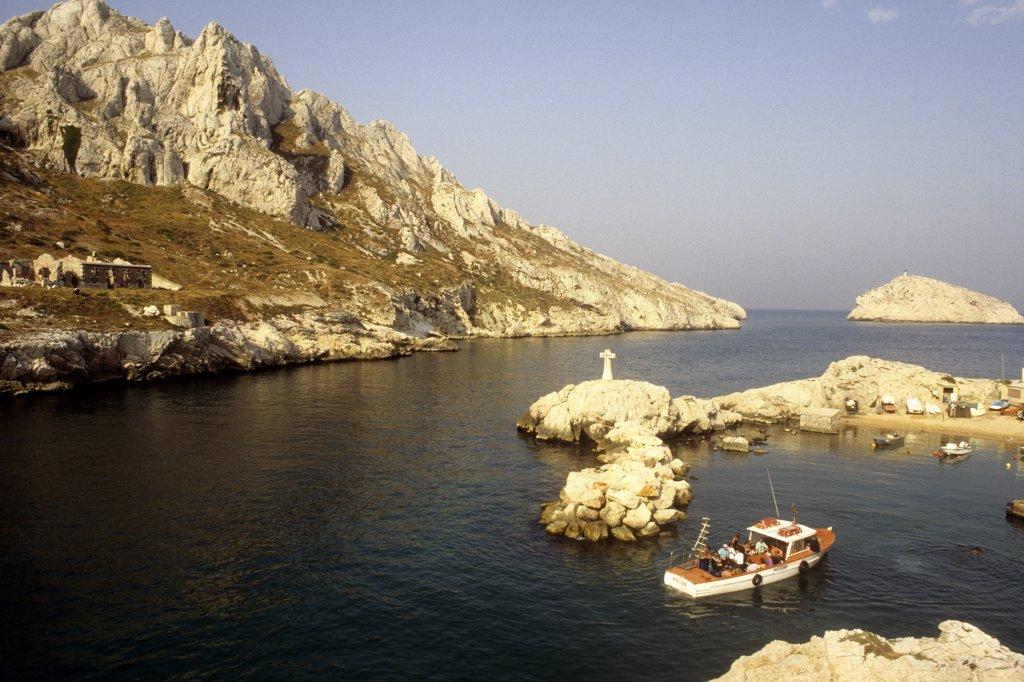 France,  Provence Alpes-Cote-d'azur, Bouches du Rhone, Marseille, Cap Croisette and Maire island : Stock Photo