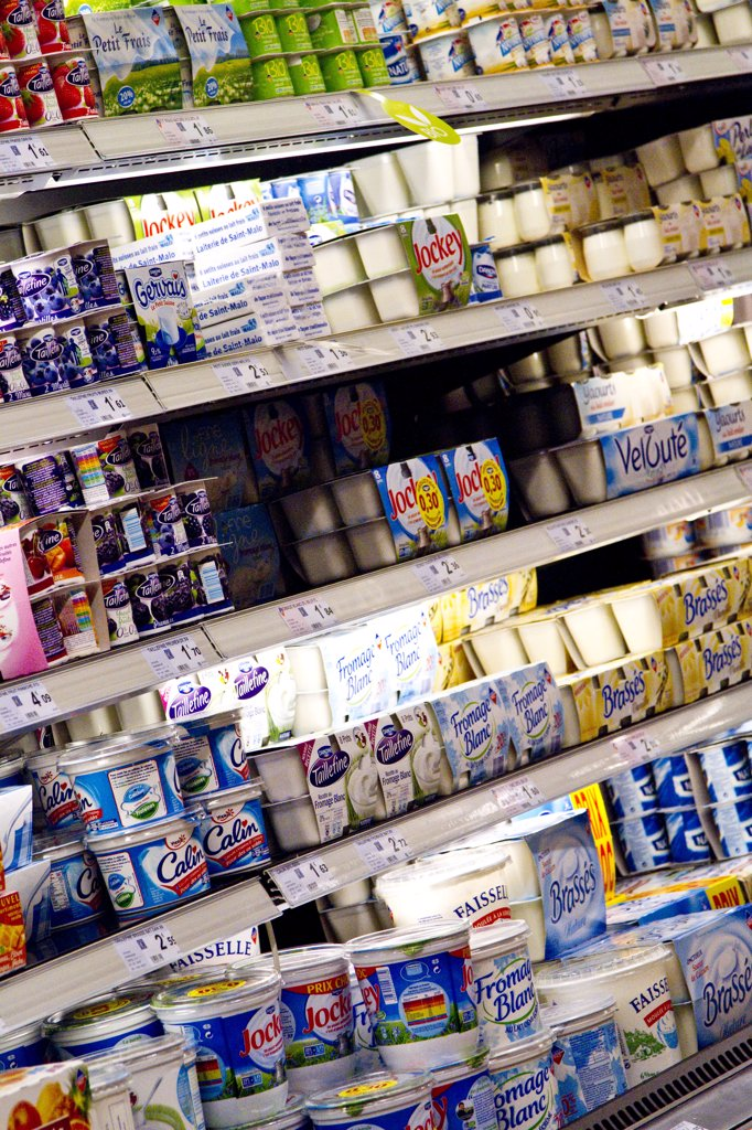 Dairy products in a store : Stock Photo