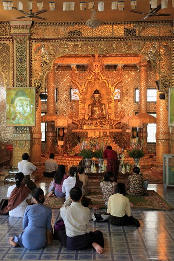 Myanmar, Burma, Yangon, Rangoon, Botataung Pagoda; people praying : Stock Photo