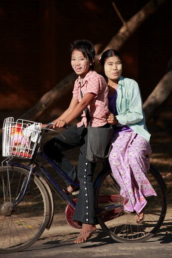 Stock Photo: 1606-126593 Myanmar, Burma, Bagan, people on bicycle