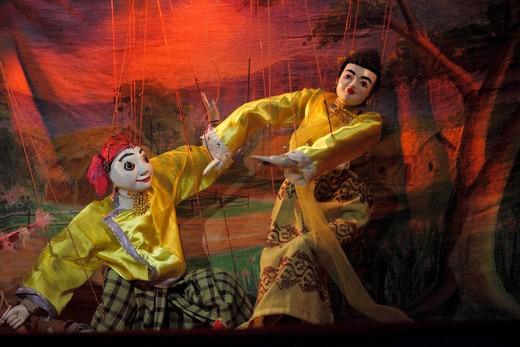 Myanmar, Burma, Mandalay, marionette puppet theatre, : Stock Photo