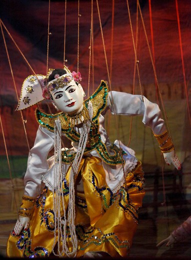 Myanmar, Burma, Mandalay, marionette puppet theatre, : Stock Photo