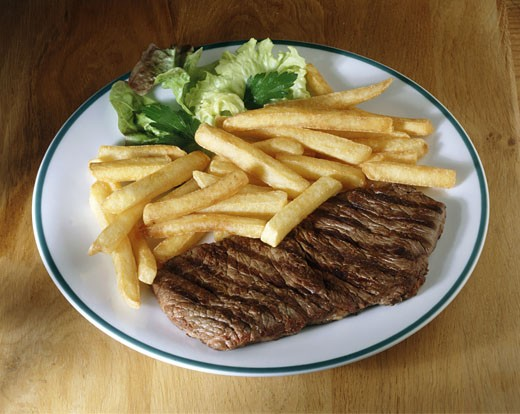 Steak and french fries : Stock Photo