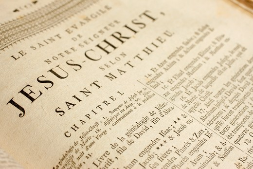 Switzerland, Geneva, 18th century French bible.  Matthew's gospel Switzerland. : Stock Photo