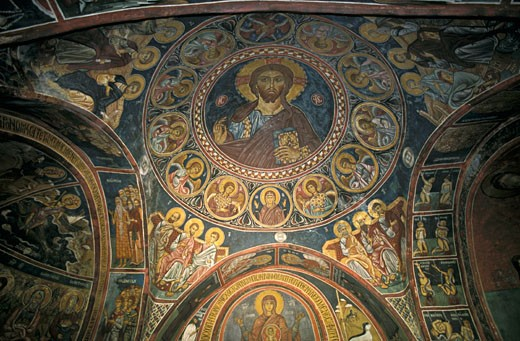 Cyprus, Assinou, Byzantine chapel (11th century), vault with mosaic : Stock Photo